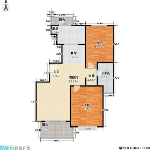 长宁馥邦苑2室1厅1卫1厨103.00㎡户型图
