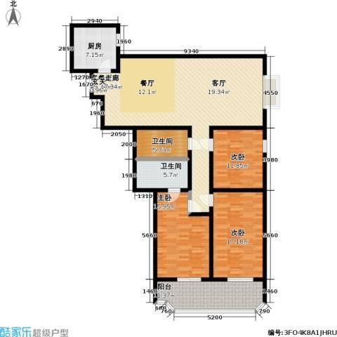 健翔园3室1厅2卫1厨138.00㎡户型图