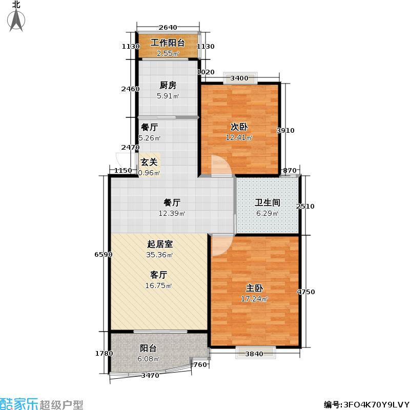 黄兴绿园一期95.16㎡房型: 二房; 面积段: 95.16 -101 平方米; 户型