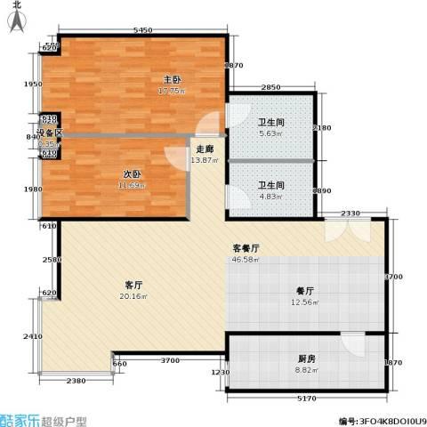 西成忆树2室1厅2卫1厨128.00㎡户型图