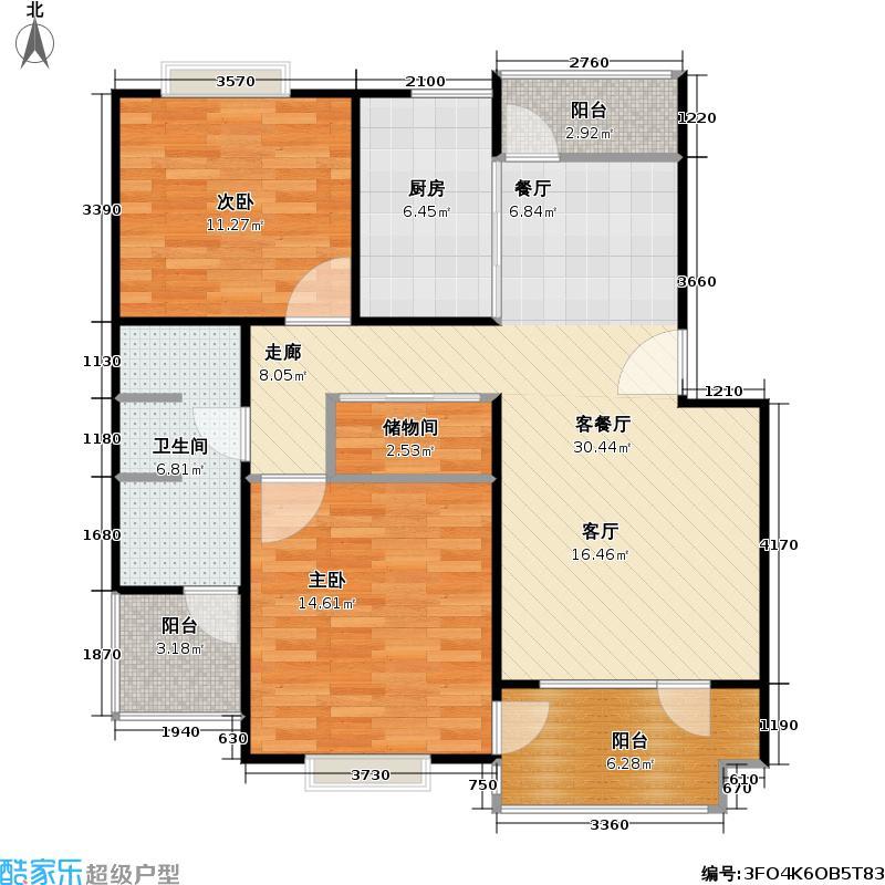 水岸家苑二期(澳洲国际)91.82㎡房型: 二房; 面积段: 91.82 -96.36 平方米;户型