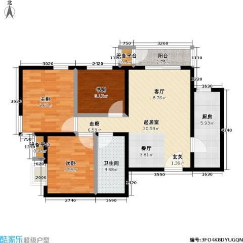 力天凤凰城3室0厅1卫1厨85.00㎡户型图