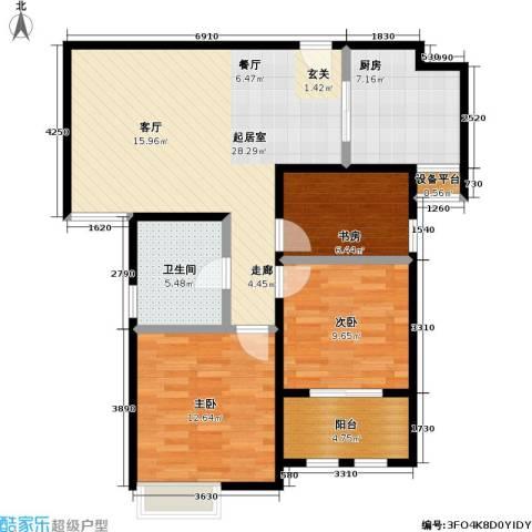 稽山御府天城3室0厅1卫1厨106.00㎡户型图