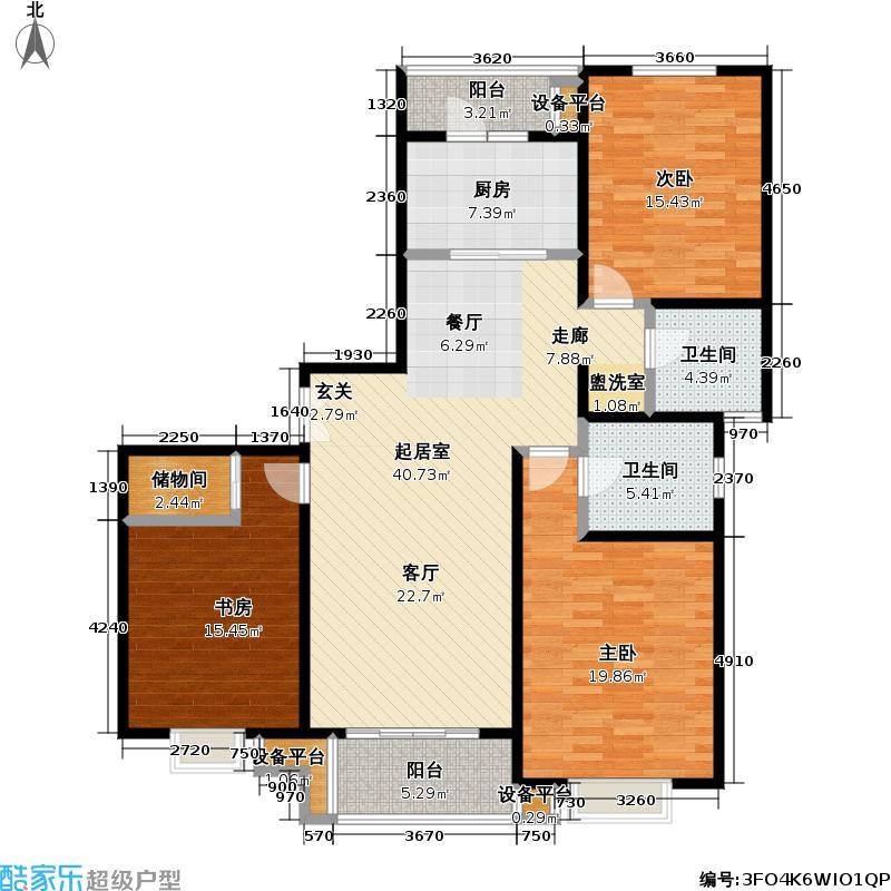 当代曹杨(中关村公寓)137.00㎡房型: 三房; 面积段: 137 -143.6 平方米; 户型