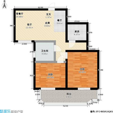健翔园2室1厅1卫1厨88.00㎡户型图