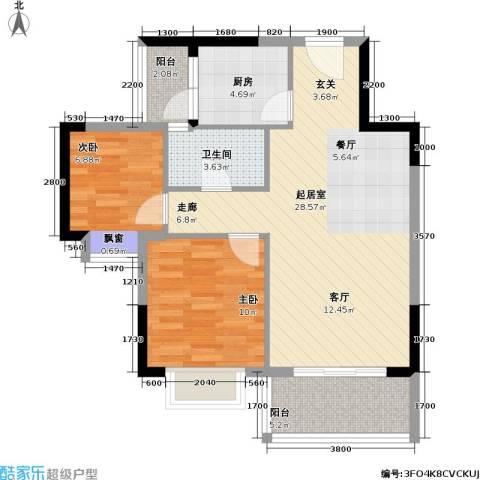 海尚绿洲2室0厅1卫1厨77.00㎡户型图