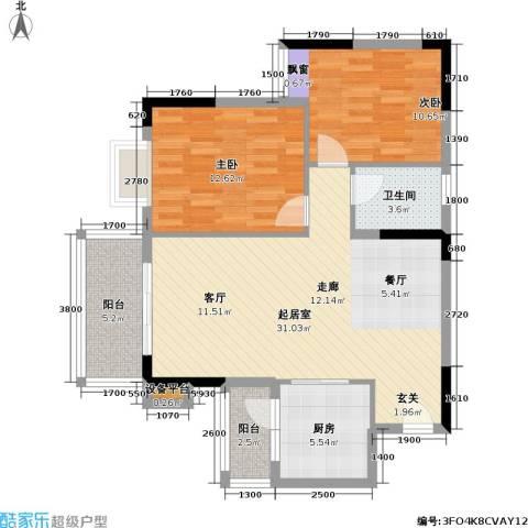 海尚绿洲2室0厅1卫1厨90.00㎡户型图