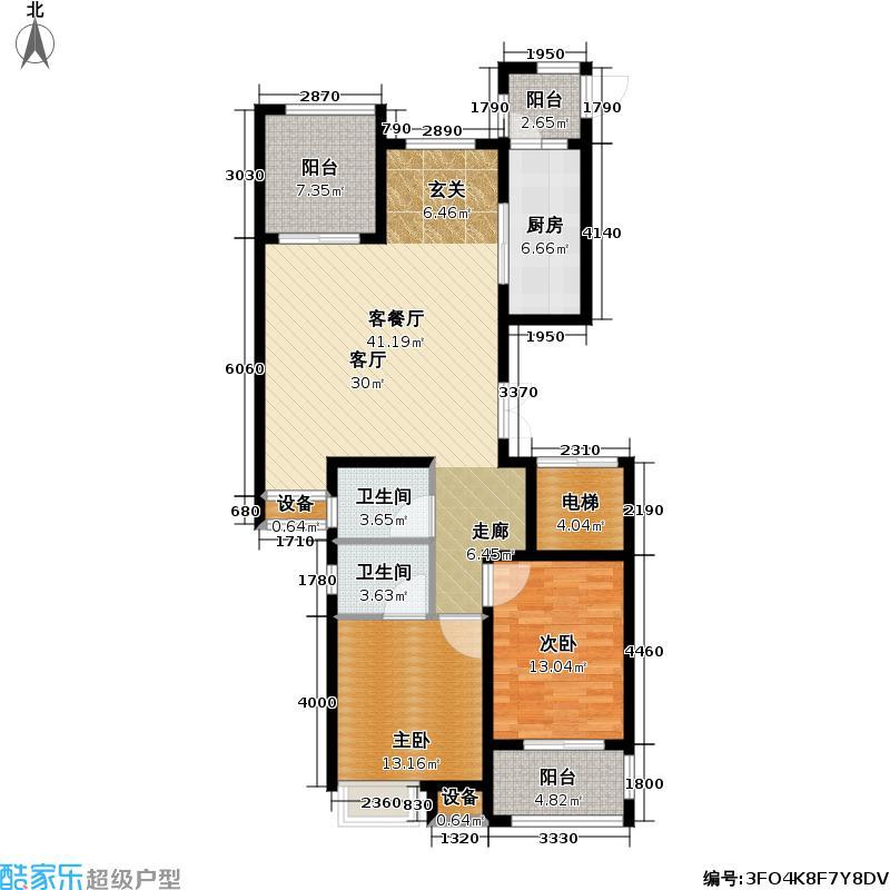 馨河郦舍117.90㎡14#、16#J户型两房两厅两卫约117.9平户型2室2厅2卫