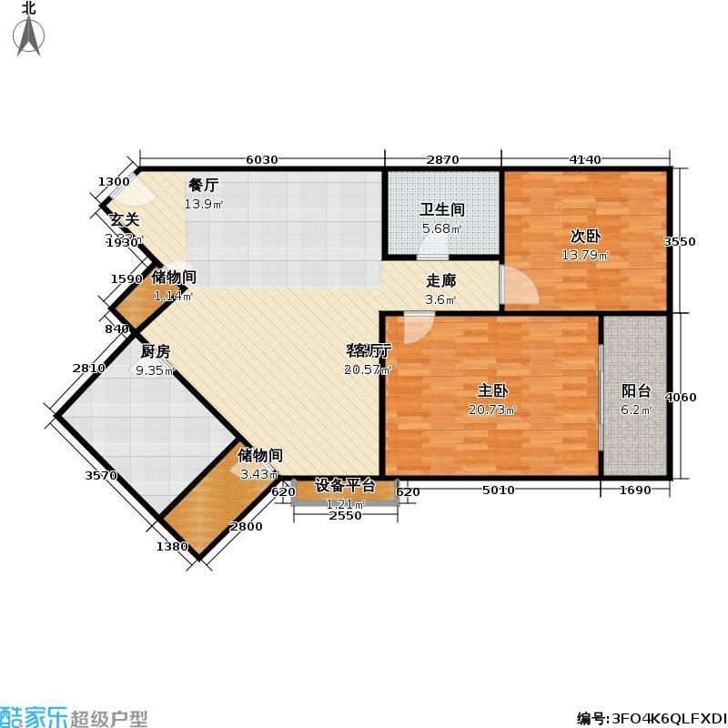 虹桥大仕馆110平方米两室两厅一卫户型