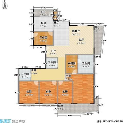 上海壹街区二期4室1厅3卫1厨217.00㎡户型图