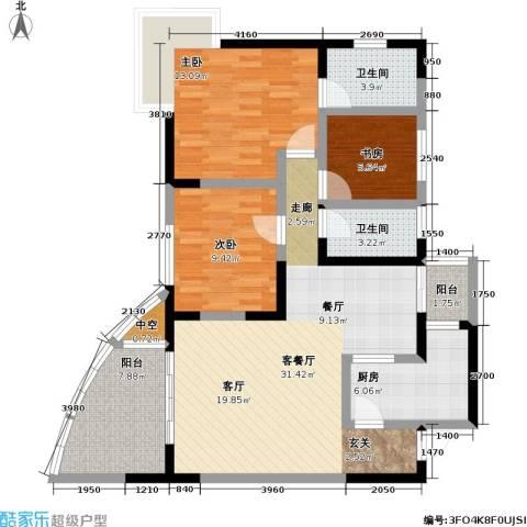 朵力名都(三期)3室1厅2卫1厨84.00㎡户型图