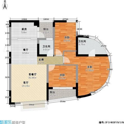 朵力名都(三期)3室1厅2卫1厨88.80㎡户型图
