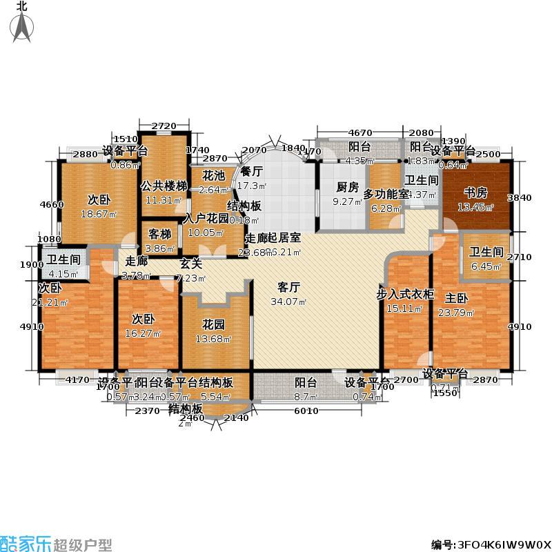 铂金府邸户型5室3卫1厨
