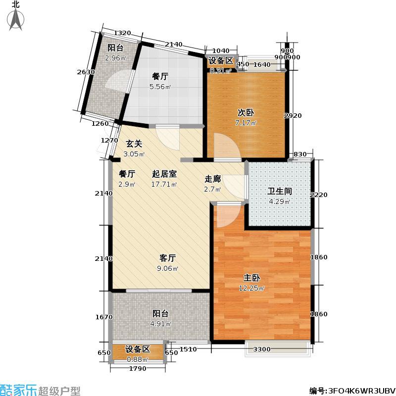 南方城二期90.00㎡房型: 二房; 面积段: 90 -108 平方米; 户型