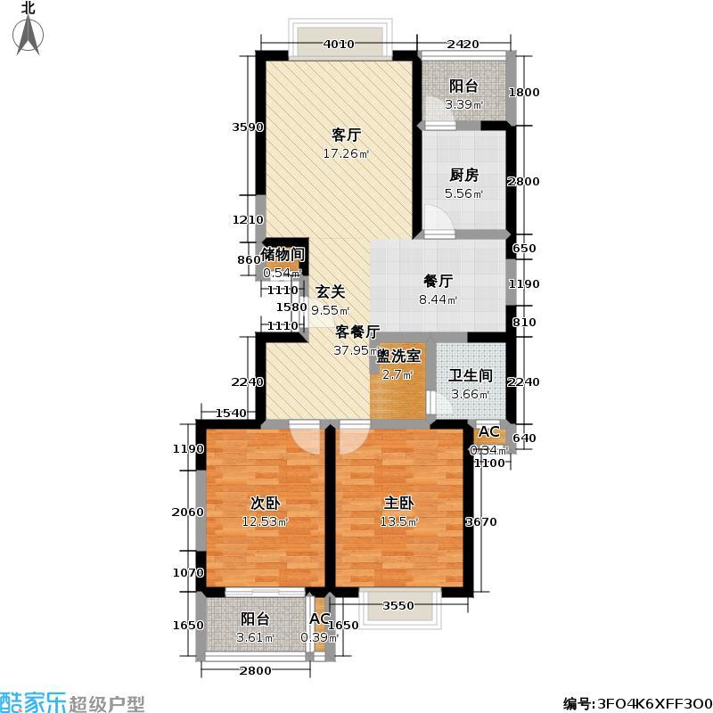 曹杨新苑三期95.00㎡房型: 二房; 面积段: 95 -122 平方米; 户型