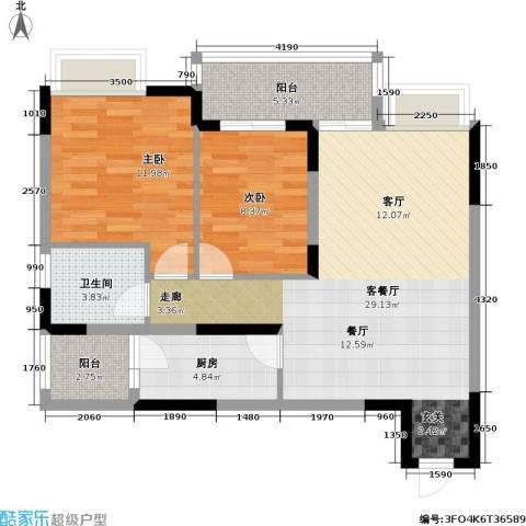 朵力名都(三期)2室1厅1卫1厨95.00㎡户型图