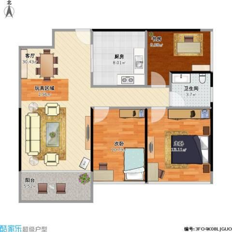 诺德名筑3室1厅1卫1厨107.00㎡户型图