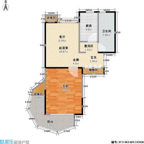 南方城二期1室0厅1卫1厨58.00㎡户型图