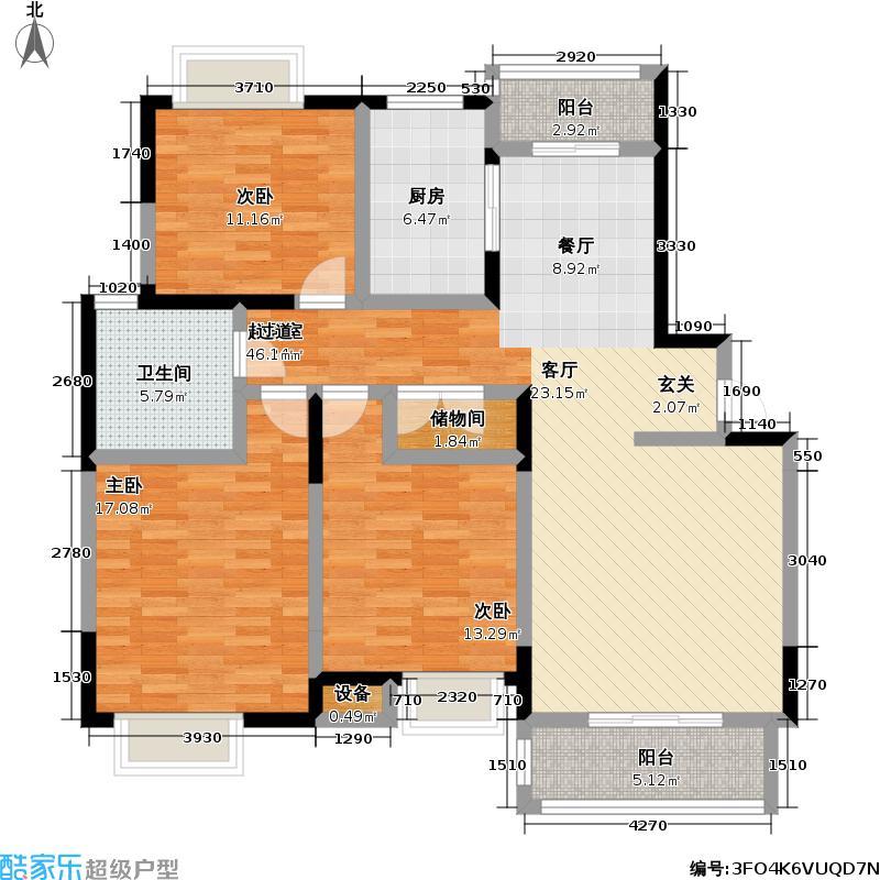 水岸蓝桥房型: 三房; 面积段: 119.3 -137.5 平方米;户型
