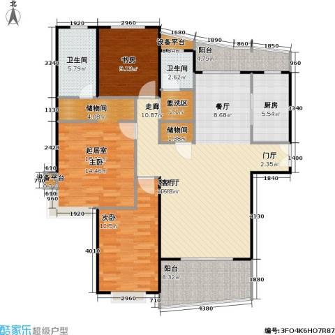 静安丽舍二期2室1厅2卫1厨124.00㎡户型图