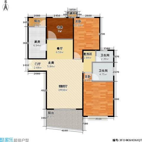 静安丽舍二期3室1厅2卫1厨124.00㎡户型图