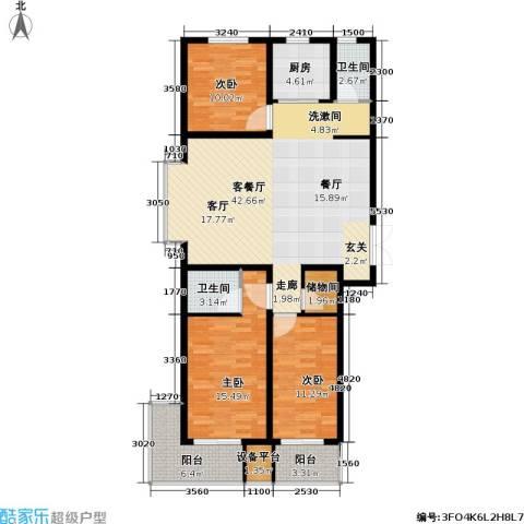 盛世华庭3室1厅2卫1厨123.00㎡户型图