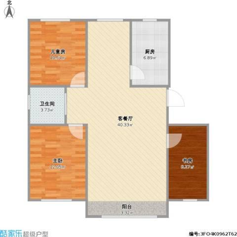 万家翔悦3室1厅1卫1厨109.00㎡户型图