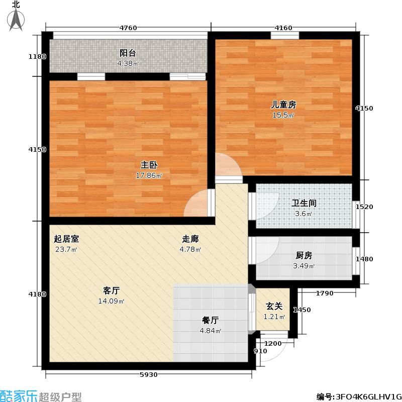 财富公馆写字楼80.17平米两室两厅一卫南北通房型户型