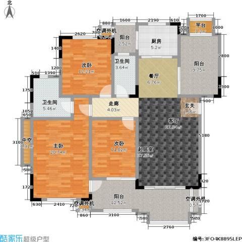 富力盈溪谷3室0厅2卫1厨124.37㎡户型图