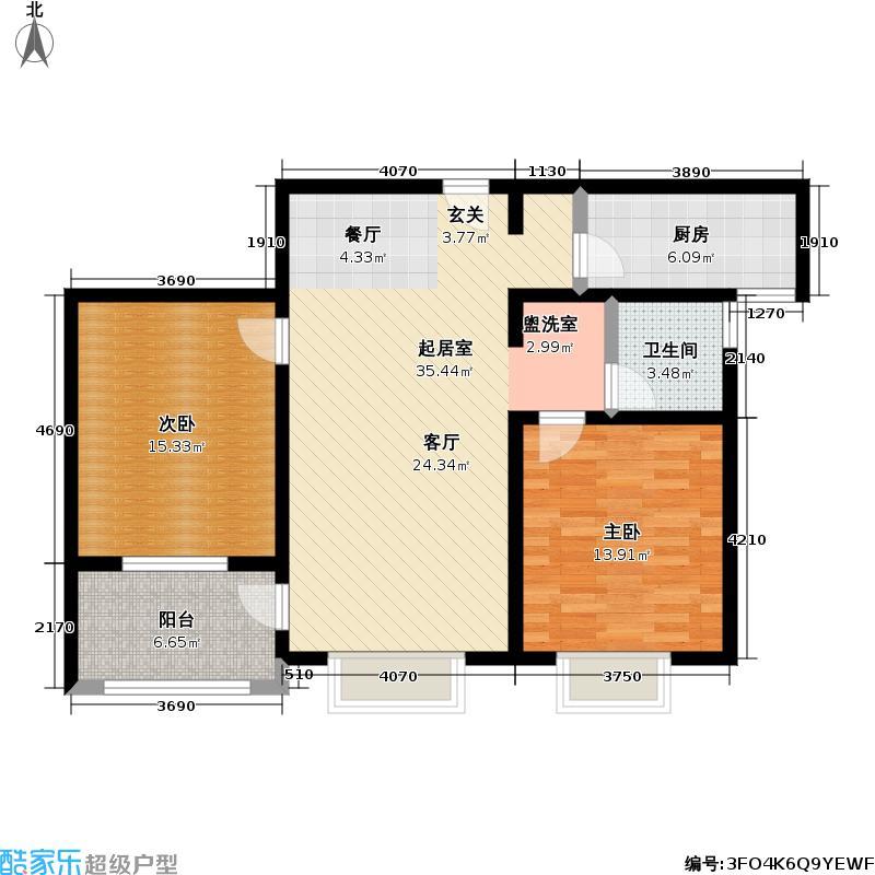 悦达花园二期93.00㎡房型: 二房; 面积段: 93 -118 平方米;户型