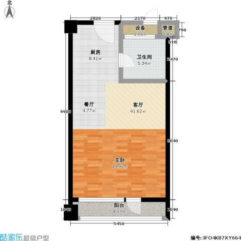CBD总部公寓三期商业1厅1卫0厨60.00㎡户型图