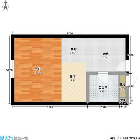 CBD总部公寓三期商业1厅1卫0厨64.00㎡户型图