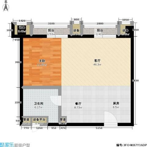 CBD总部公寓三期商业1厅1卫0厨90.00㎡户型图