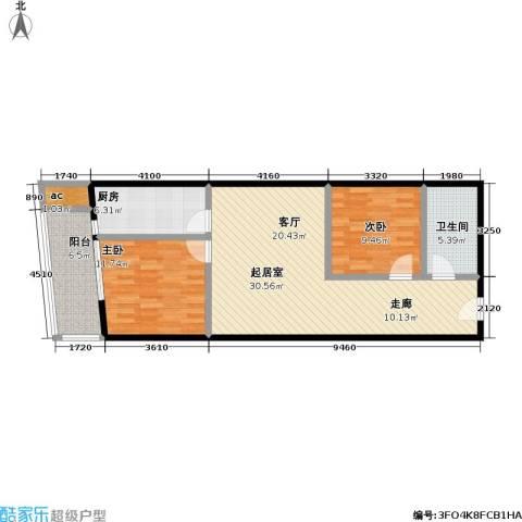 天龙华鹤(天下儒寓)2室0厅1卫1厨81.00㎡户型图
