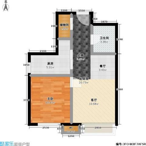 东亚・瑞晶苑1室0厅1卫1厨61.00㎡户型图