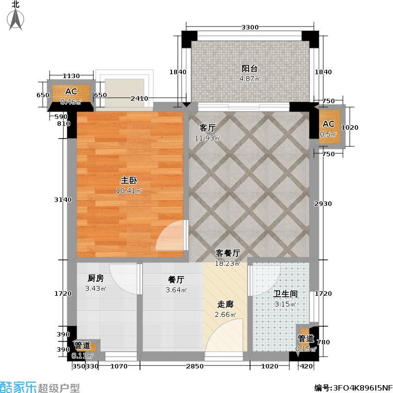 美林湖国际社区53.11㎡5号楼 08、09户型1室2厅1卫