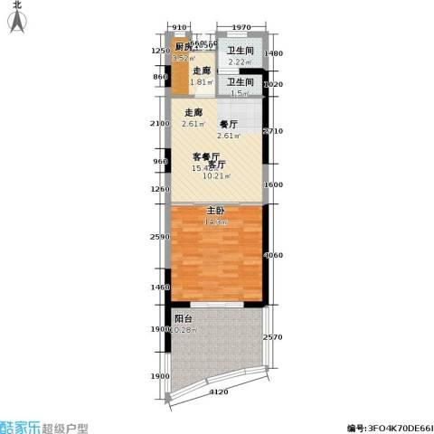 平海・逸龙湾1室1厅2卫1厨68.00㎡户型图