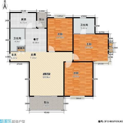 春满园公寓三期3室0厅2卫1厨128.00㎡户型图