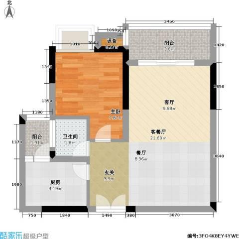 典雅・龙海港湾(一期)1室1厅1卫1厨48.00㎡户型图