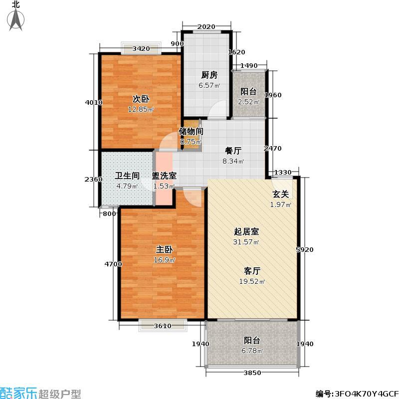 东方名城一期房型户型2室1卫1厨
