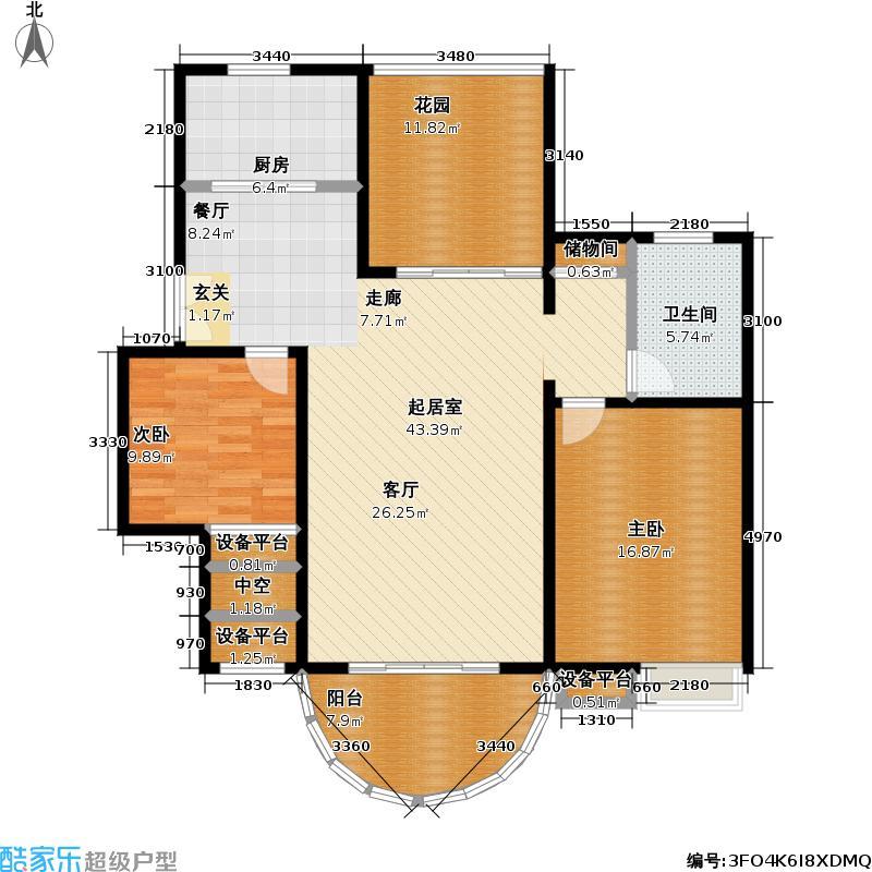 耀江花园二期120.00㎡房型: 二房; 面积段: 120 -130 平方米;户型