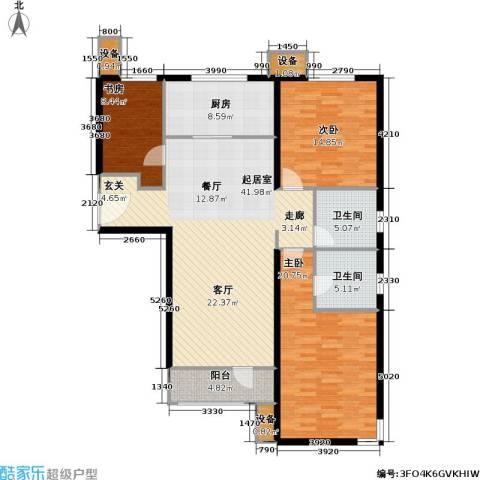 万科魅力之城尊域3室0厅2卫1厨121.00㎡户型图