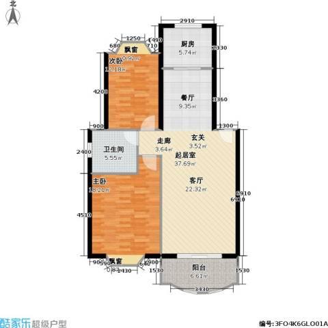 金龙花园(一期)2室0厅1卫1厨90.00㎡户型图