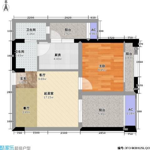 金科蚂蚁SOHO二代1室0厅1卫1厨65.00㎡户型图