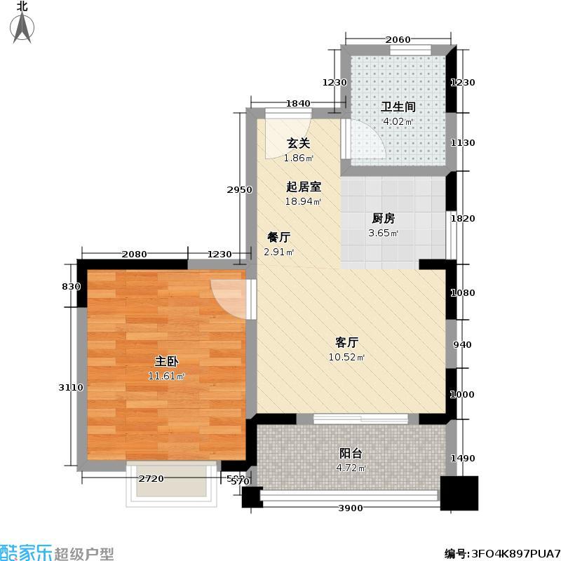 海涛花园50.68㎡A-2户型图1室1厅1卫1厨LL