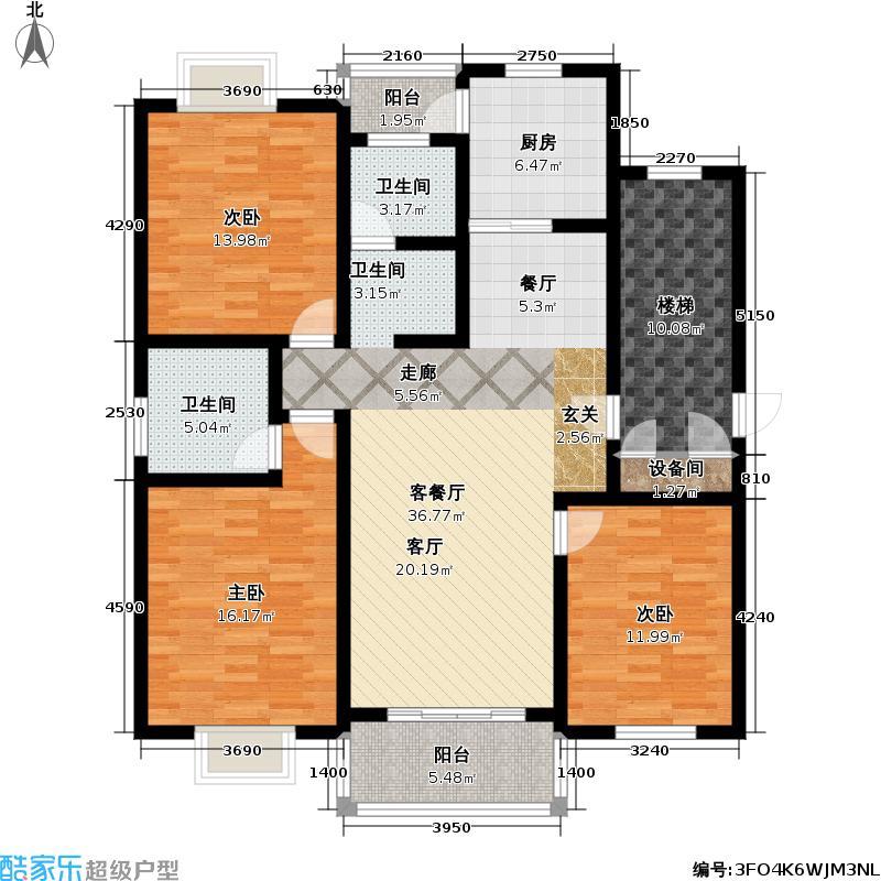 金水湾贵园一、二期房型: 三房; 面积段: 120 -130 平方米; 户型