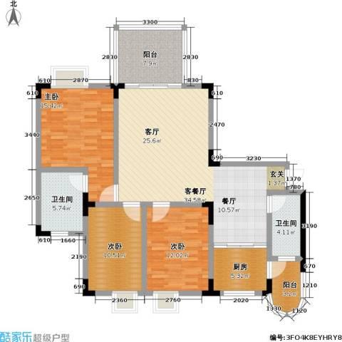 假日滨江花园(二期)3室1厅2卫1厨114.00㎡户型图