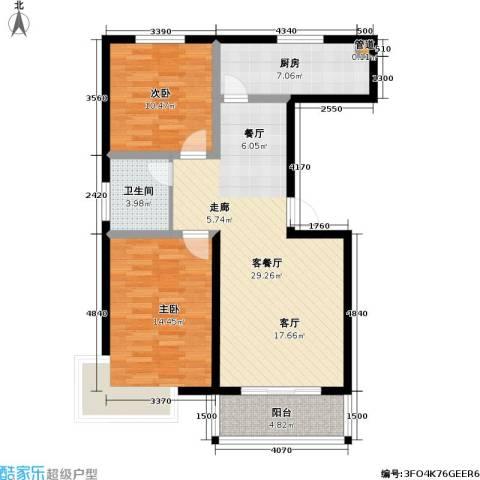 玉泉华庭2室1厅1卫1厨91.00㎡户型图
