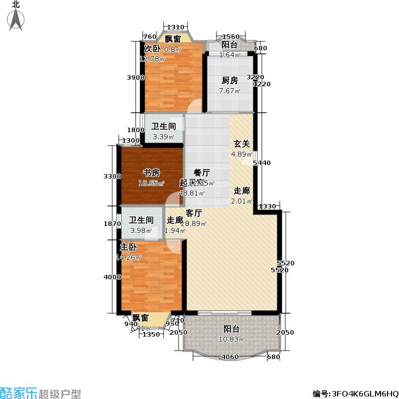金龙花园(一期)110.18㎡房型: 三房; 面积段: 110.18 -135.6 平方米;户型