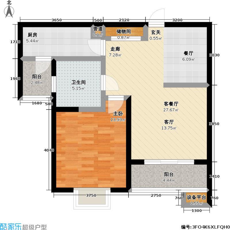 达安春之声一期71.00㎡房型: 一房; 面积段: 71 -73 平方米; 户型